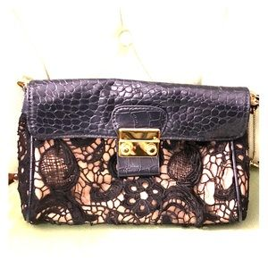Bug Budda Blue Lace And Leather Clutch